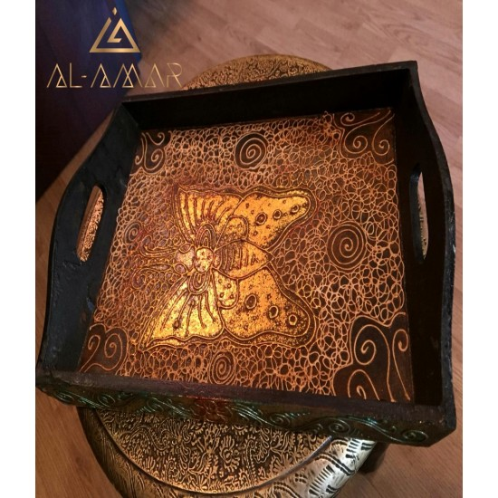 Wooden hand made butterfly decorated Tray   Best price from Al-amar.bg