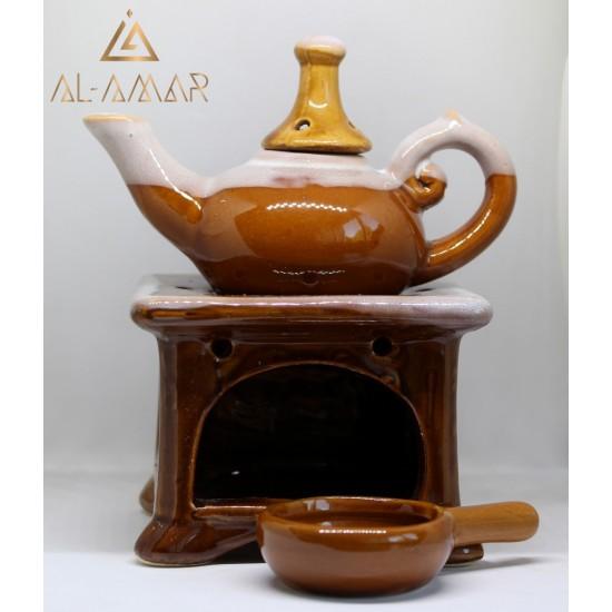 XL AROMA OIL LAMP BROWN TEAPOT SHAPE | Best price from Al-amar.bg